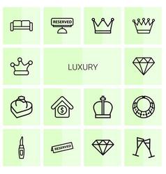14 luxury icons vector image