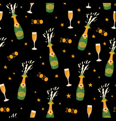 2020 champagne bottles new years eve celebration vector