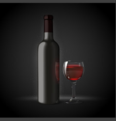3d realistic wine bottle with glass vector
