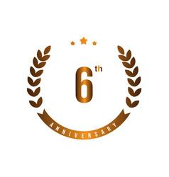 6 th anniversary template design vector