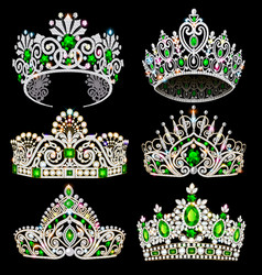 A fashion collection jewelry tiaras with vector