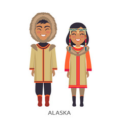 Alaska people in clothes on vector