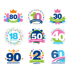 Anniversary birthdays festive signs set ubilee vector