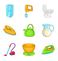 Asylum icons set cartoon style vector