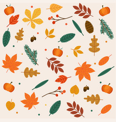 autumn leaves set flat design modern concept vector image