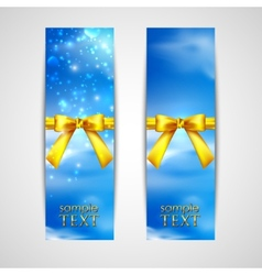 banners with yellow bows on the sky background vector image
