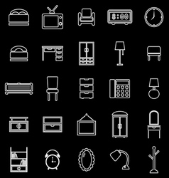 bedroom line icons on black background vector image