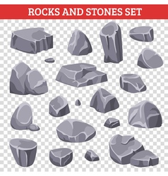 Big And Small Gray Rocks And Stones vector image
