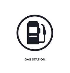 Black gas station isolated icon simple element vector