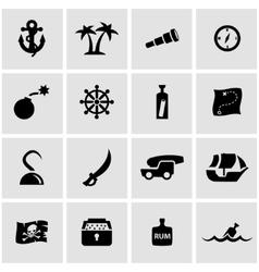 black pirate chart icon set vector image
