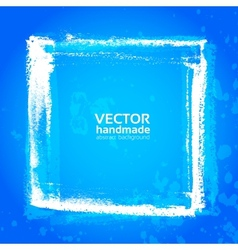 Blue grunge frame from textured brush strokes vector image