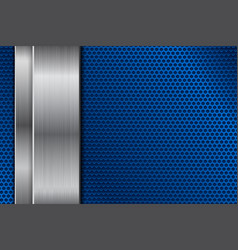 Blue metal perforated background with vertical vector