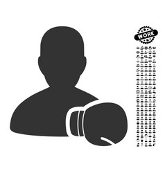 boxing sportsman icon with work bonus vector image