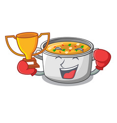Boxing winner cartoon homemade stew soup in the vector