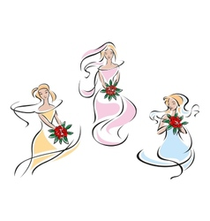 Brides with bouquet of flowers vector
