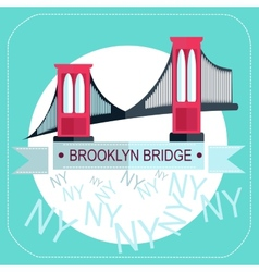 Brooklyn Bridge New York icon flat vector image