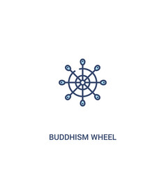 buddhism wheel concept 2 colored icon simple line vector image