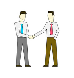 businessmen shaking hands outline color vector image