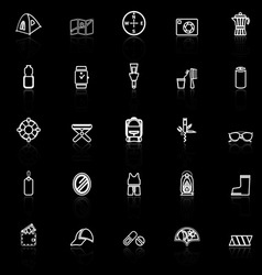 Camping necessary line icons with reflect on black vector