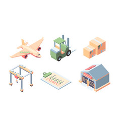 cargo delivery isometric set express service of vector image