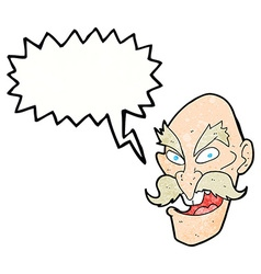 cartoon evil old man face with thought bubble vector image