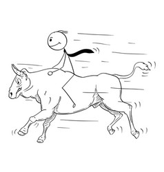 Cartoon of businessman riding a bull market vector