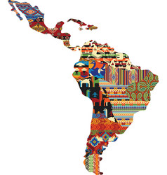 Central and south america patchwork map vector