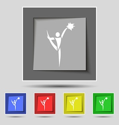 Cheerleader icon sign on original five colored vector