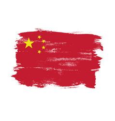 china flag in grunge brush vector image