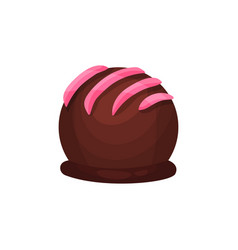Chocolate candy in form of ball with pink icing vector