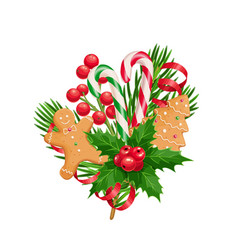 Christmas composition spruce twig gingerbreads vector