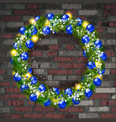 christmas wreath on old brick wall vector image