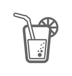 cocktail outline icon summer vacation vector image