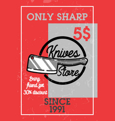 color vintage knives store banner vector image