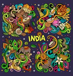 Colorful hand drawn doodles cartoon set vector