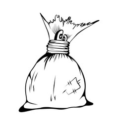 comic cartoon character cute sack sketch vector image