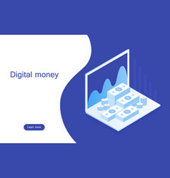 concept digital marketing digital money analyze vector image