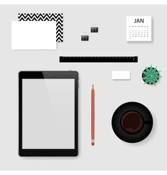 Concept of mockup office workplace vector