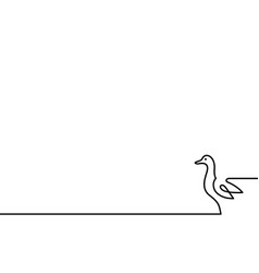 continuous line duck on white background vector image
