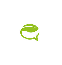 creative green bubble chat leaf logo vector image