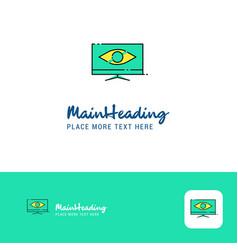creative monitor logo design flat color logo vector image