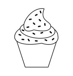 cupcake sweet dessert thin line vector image