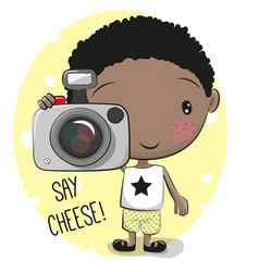 Cute cartoon boyl with a camera vector