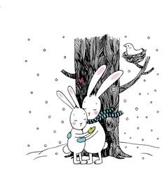 Cute cartoon hares Winter vector image
