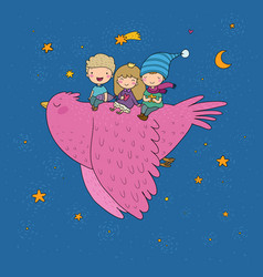 cute cartoon kids are flying on a bird funny vector image