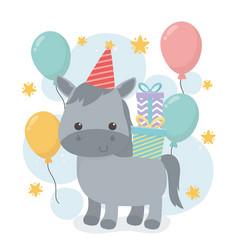 Cute horse in birthday party scene vector