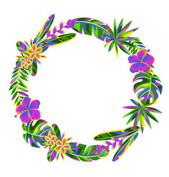 decorative element with tropical flowers and palm vector image
