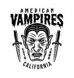 Dracula head emblem or t-shirt print design vector