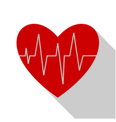 electrocardiogram icon with long shadow heart car vector image