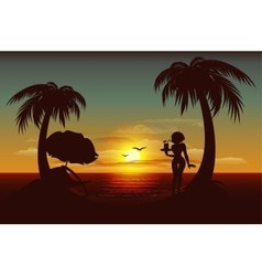 Evening sunset on tropical island Sea palm trees vector image